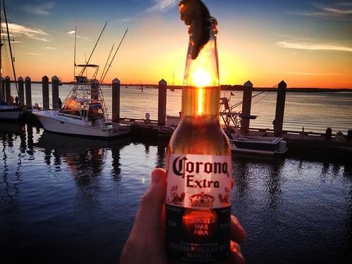 sunset beach beer boats photography florida corona dm fernandina