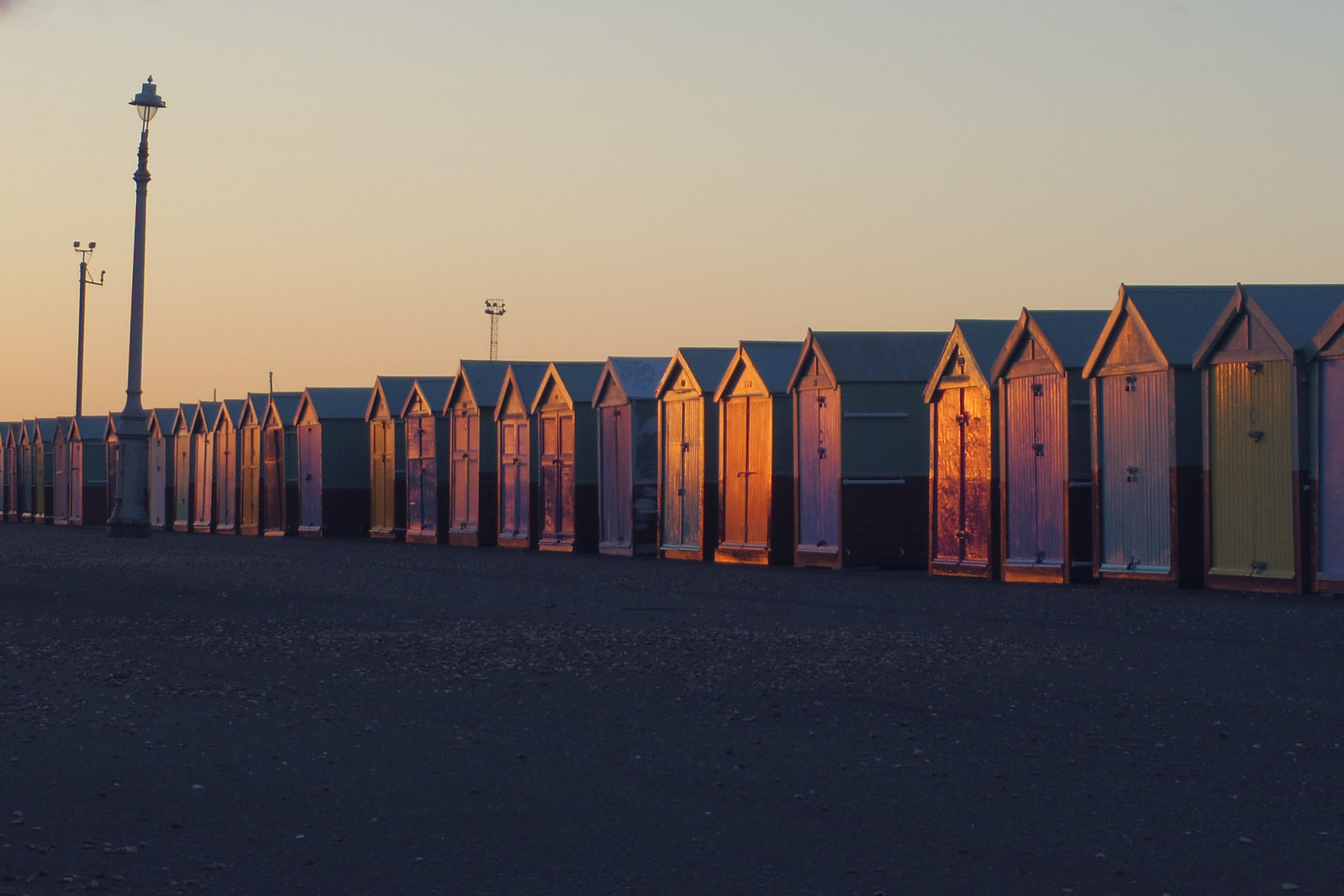 Sunset beach huts brighton