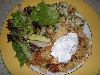 Pinto Bean Casserole with Tortilla Chip Crust; Sauteed Cauliflower and Cilantro (TGOV); Green Salad