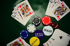 Poker Chips and Face Cards - Poker