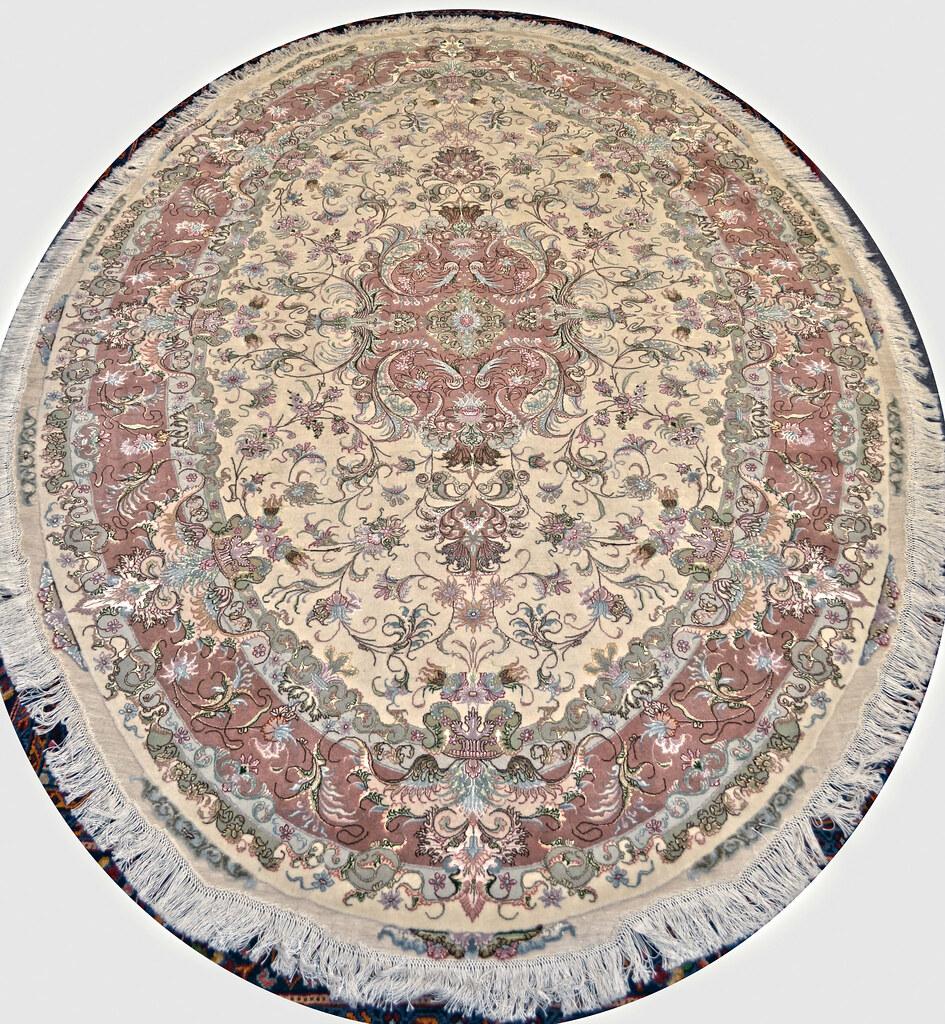 Oval Shape Tabriz Persian Rug 7x10