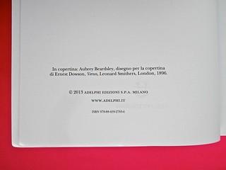 Adelphiana, AAVV. Concezione grafica di Matteo Codignola e Roberto Abbiati; impaginazione di Matteo Spagnolo; fotografie di Luca Campigotto. Colophon / verso del frontespizio (part.), 1