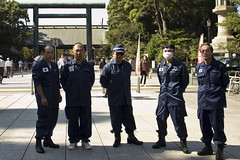 Far-right (uyoku dantai) members posing outside the Yasukuni Shrine