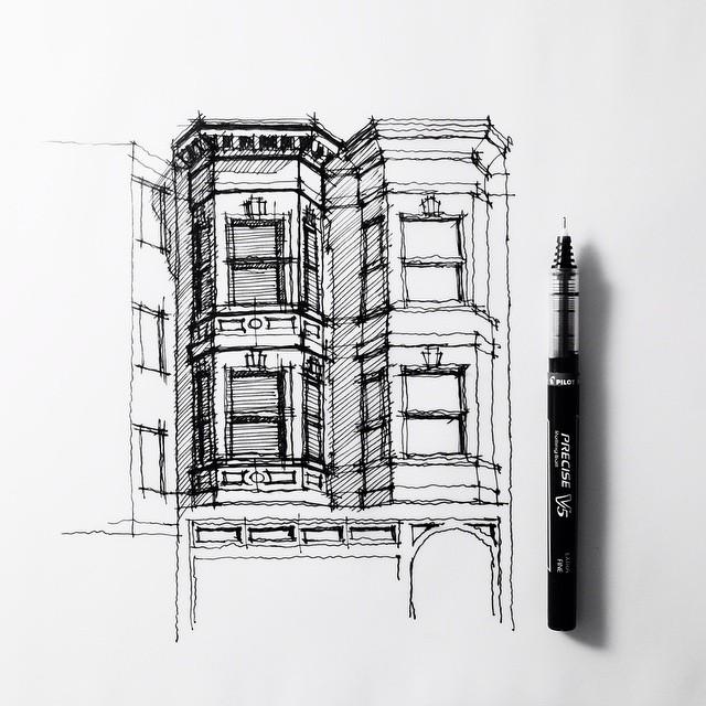 Twins Bay Windows Sanfrancisco Sketch Drawing Archit