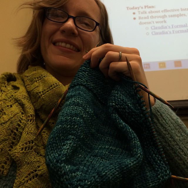 Knitting during the break between my recitation sections.