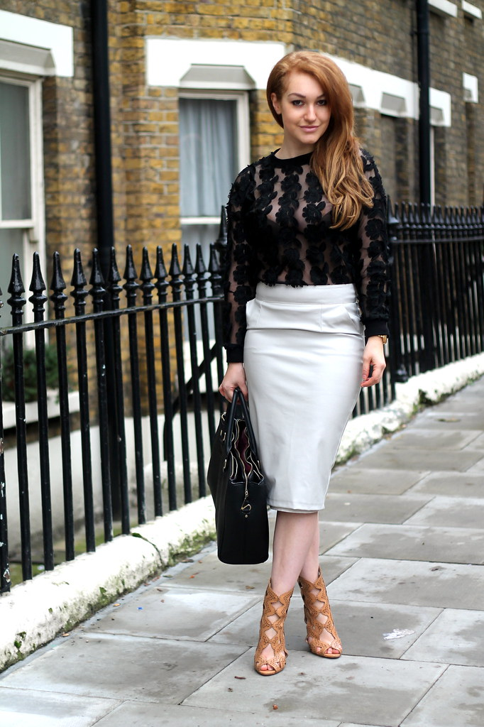 Black lace top and white pencil skirt (2)