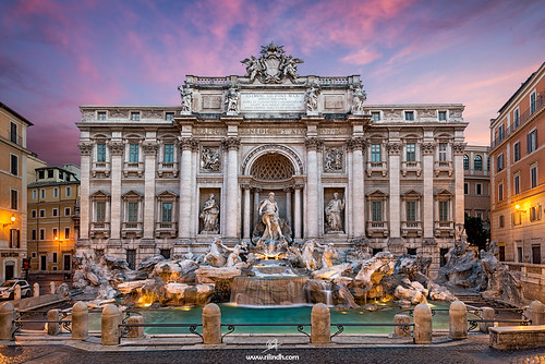 italy rome sunrise trevifountain wish fontanaditrevi