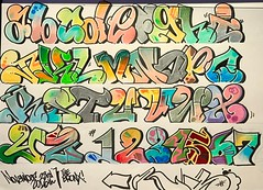 Bubbly graffiti alphabet, 2 of 2 attempts. #bubbleletters #colorful #lettering