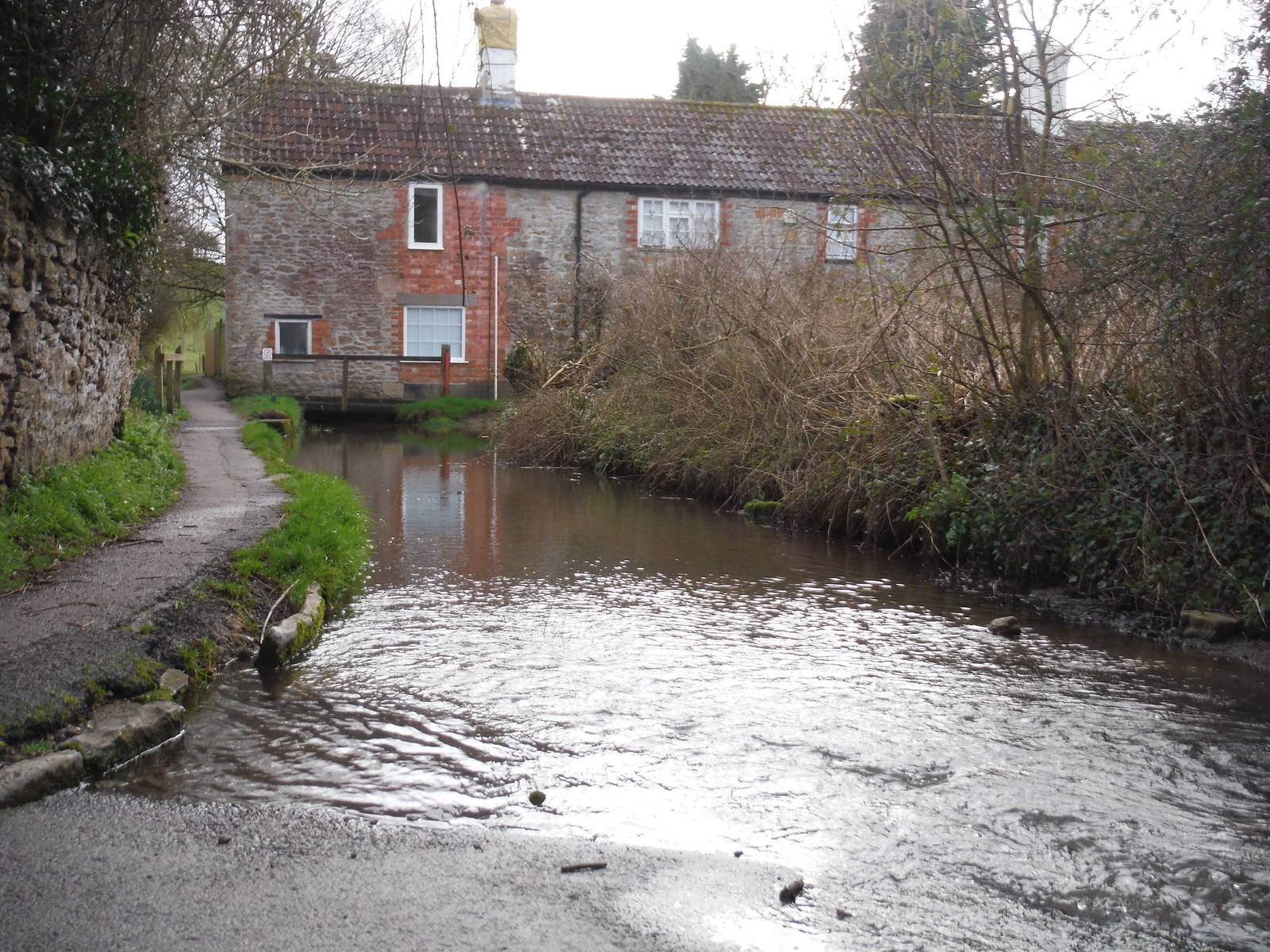 Combe Brook flooding Tolbury Lane and disappearing under Old Mill SWC Walk 284 Bruton Circular (via Hauser & Wirth Somerset) or from Castle Cary
