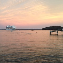 Cruise ship under a pale cotton candy sunset! #Maine #barharbor