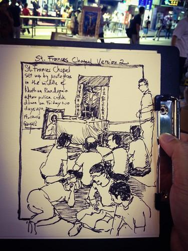 Umbrella Revolution: St Frances Chapel on the Street