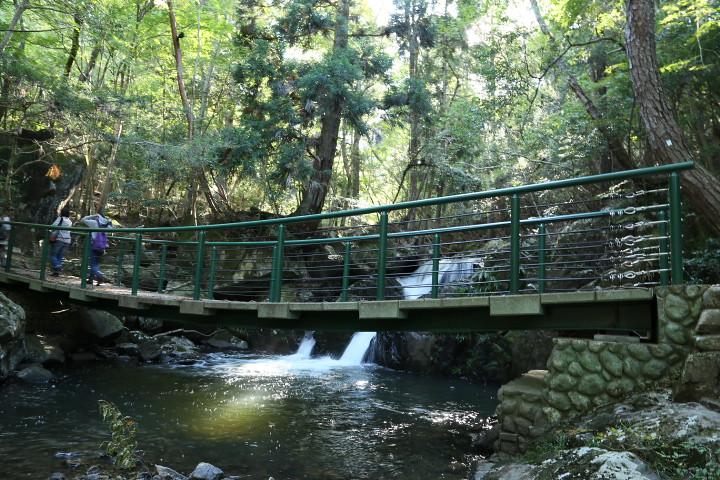 滝壺前の橋。そばにお手洗いがある