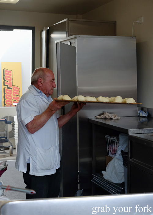 Owner Nick Tsiligiris at Olympic Doughnuts, Footscray