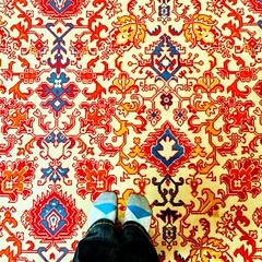I\'m not sure who chose this carpet in the imperial villa, but I love it! #nikko