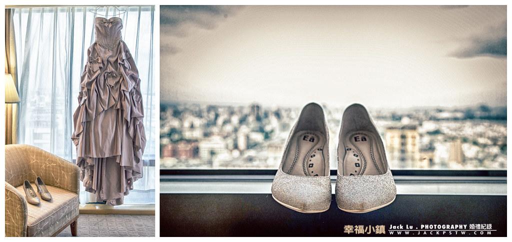新娘今晚的禮服掛在窗前和她的禮鞋