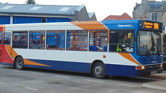 trolleybus(0.0), optare solo(0.0), vehicle(1.0), transport(1.0), mode of transport(1.0), public transport(1.0), dennis dart(1.0), land vehicle(1.0), bus(1.0),