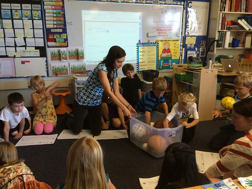 Ms. Davis visiting Ms. Murphy's First Grade