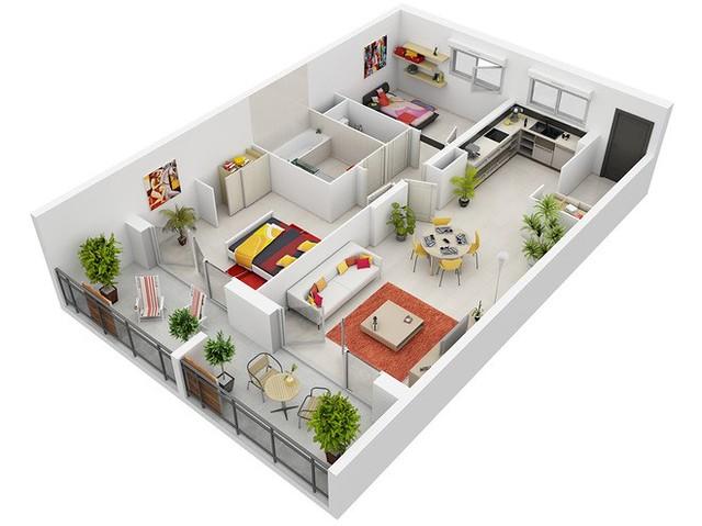 Thiết kế chung cư 2 phòng ngủ 5