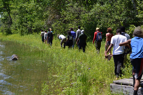 A group of young people from Detroit walk a somewhat unfamiliar path along the shoreline of Clear Lake on the Hiawatha National Forest in Michigan. The U.S. Forest Service teams with partners to help open the world of natural resources to children who live in cities. (U.S. Forest Service)