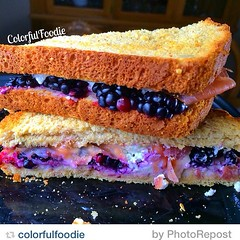 """by @colorfulfoodie """"Soup and sandwich for dinner! Homemade tomato soup (recipe for another day!) and a fabulous #SweetAndSavory innovative sandwich is what was for dinner! Remember I said clean eating is FUN when you #KeepitColorful 🍇🍓:c"""