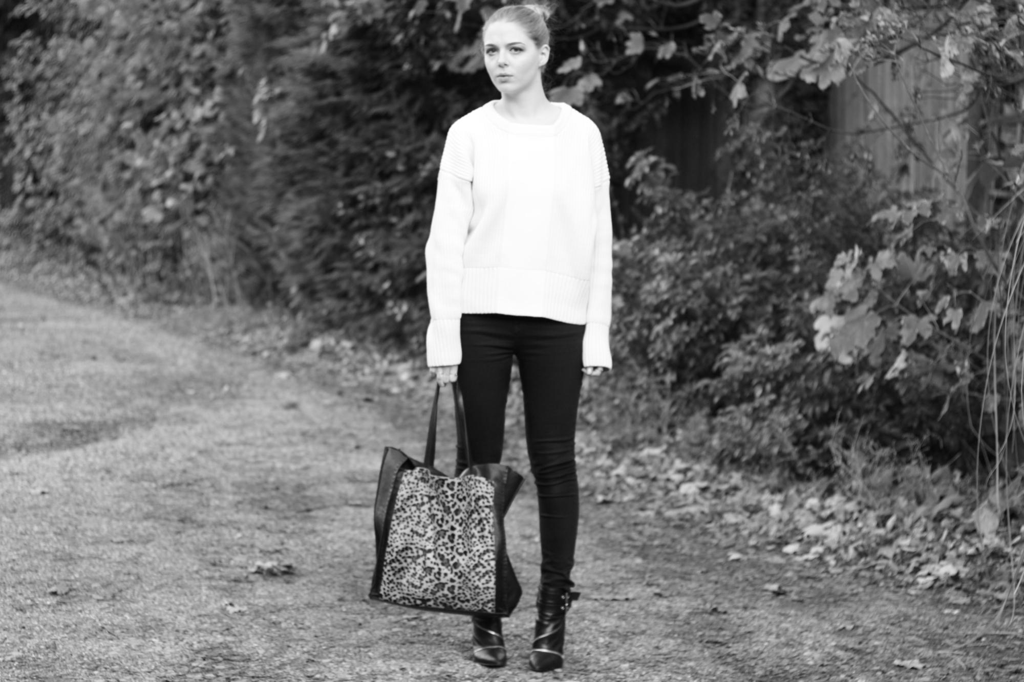 Zara leopard tote bag