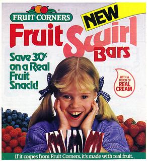 "FRUIT CORNERS :: ""NEW FRUIT SWIRL BARS; Save 30¢ - "" (( 1987 ))"
