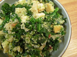 Quinoa, Tofu, and Kale with Walnut Pesto