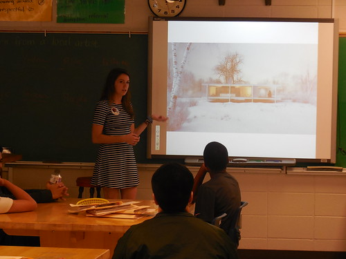 Architect Morgan Orvino works with McCleksey students