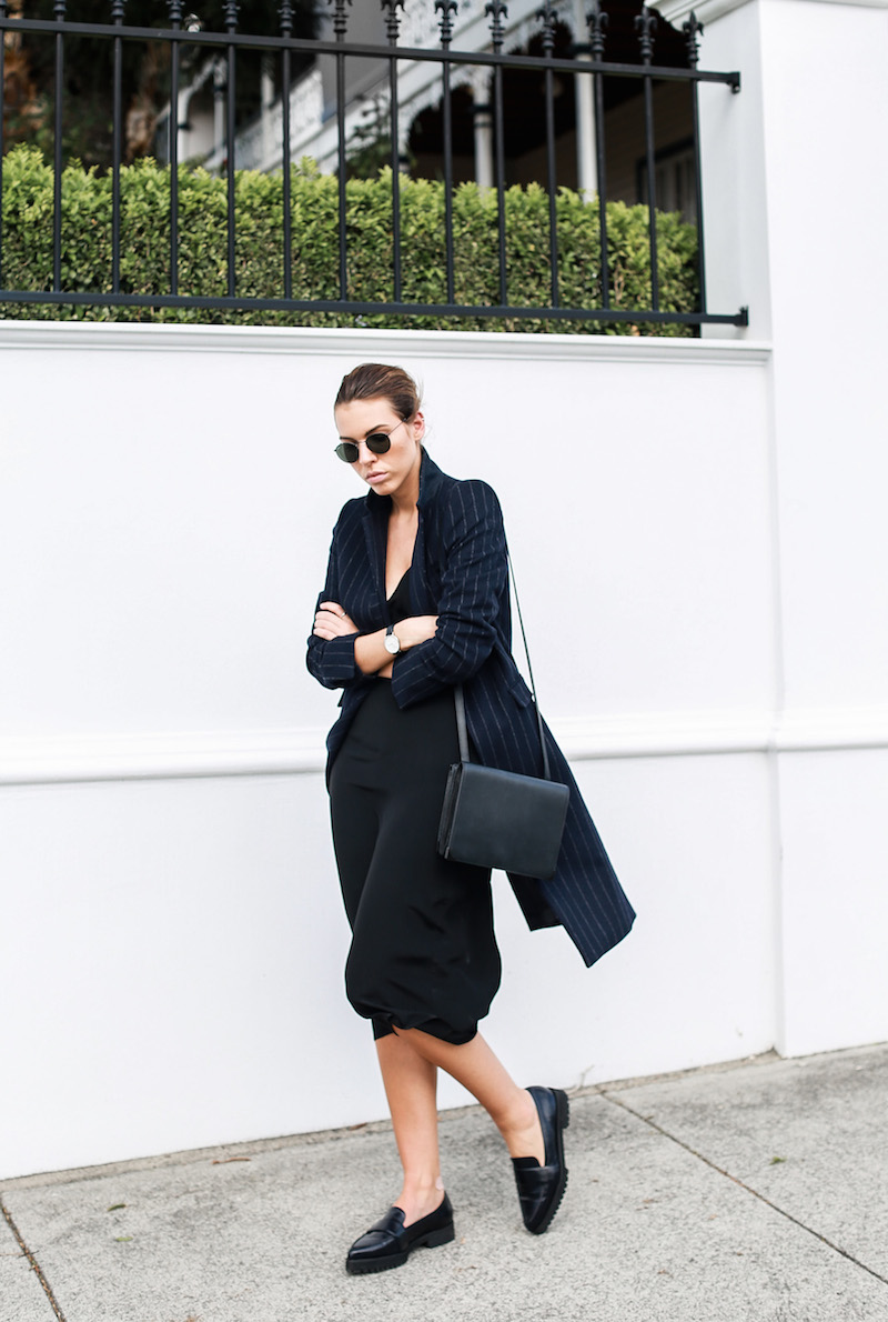 modern legacy fashion blog Australia pinstripe Zara coat street style Topshop cami silk slip dress Senso navy loafers Alexander Wang Envelope Prisma bag (2 of 10)