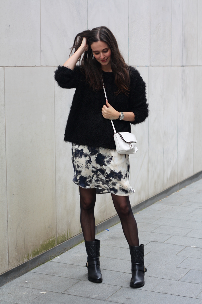 outfit fluffy black sweater watercolour dress biker boots