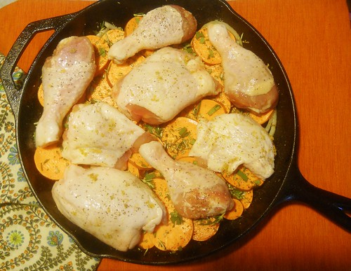 Skillet Roasted Chicken and Sweet Potatoes (Before)