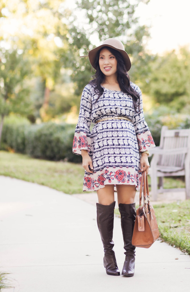 cute & little blog | petite fashion | maternity baby bump pregnant | boho fall outfit | wool floppy hat, chicwish boho floral dress, michael kors bromley over knee boots | second trimester 25 weeks