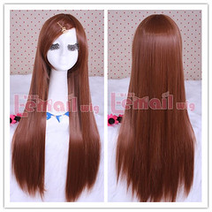 80cm long brown straight cosplay hair wig CW280-E