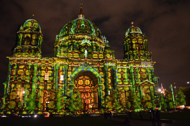 10th Berlin Festival of Lights _Berliner Dom cathedral green tiles illumination