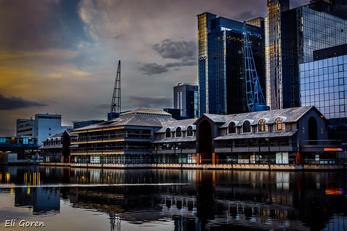 sunset sky reflection london water cranes wharf canary canarywharf eligoren אליגורן