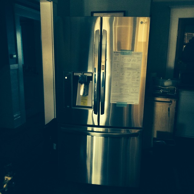 New fridge - in living room...