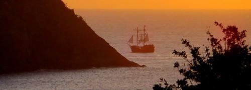 sunset sea mer meer ship sundown pirate caribbean schiff stlucia pigeonisland piratesofthecaribbean stelucie navire