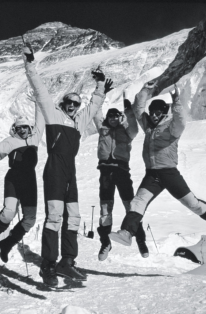 Kevin, Jim, Albi, and I jump for joy and relief.on hearing that Sharon and Dwayne are OK.after making the summit of Mount Everest..Photo: Bob Lee