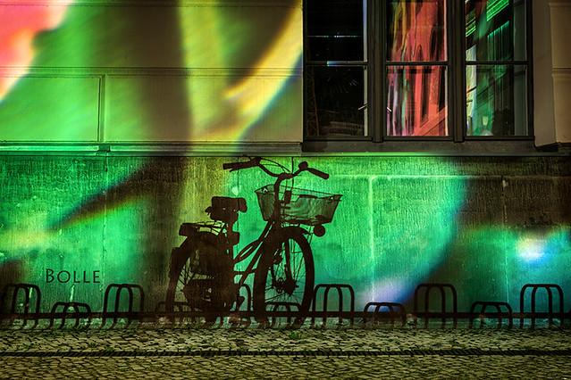 Festival of Lights 2014 in Berlin , Bicycle shade , Fahrrad Schatten