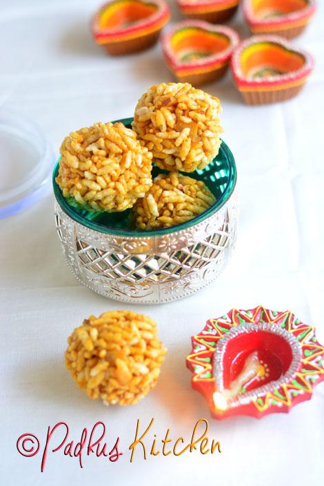Aval Pori Urundai-Nel Pori Urundai Recipe-Karthigai Deepam Special Recipes