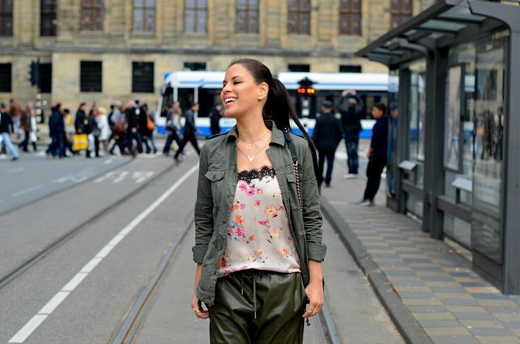 DSC_3045 Zara Floral top, Miltary jacket, Tamara Chloé
