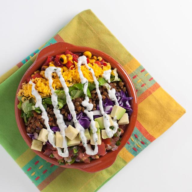 Taco spiced lentil salad