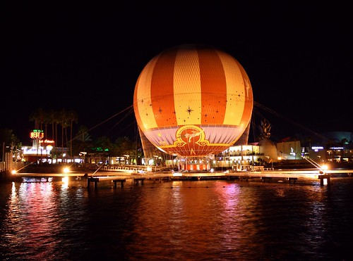 old blue red lake color vintage buildings fun orlando cool dock colorful downtown nightshot unitedstates florida antique stripes balloon bluesky clear reflect throwback downtowndisney pleasureisland upupandaway tether centralflorida minivacation icanfly turnofthecentury diamondclassphotographer flickrdiamond circusballoon charactersinflight opened2009 theshootingstars dmslair observationballoonride halloweennight2014