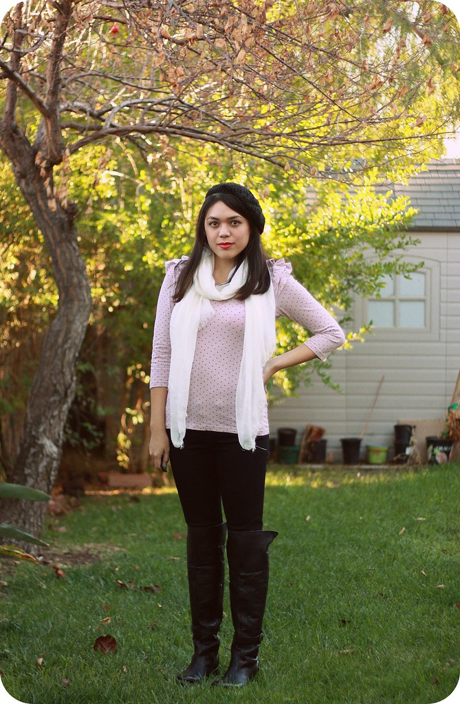 Fall fashion style outfit post featuring Paige Skyline Skinny jeans, Freebird by Steven Quebec boots, Zappos
