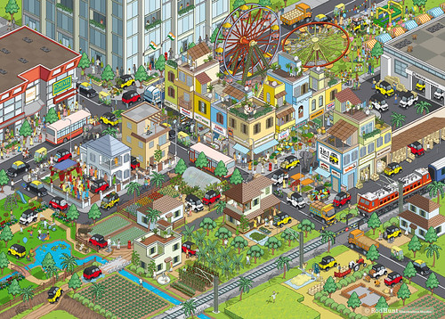 Multix Personal Utility Vehicle Advertising Campaign Illustration - isometric pixel art illustration by Rod Hunt