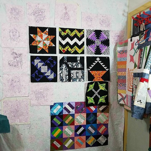 "This is my design wall. It's also my ""set"" for #talktometuesday. I was looking for an older video on my #YouTube channel (ofenjen), and was stuck by how I could see my various projects taking shape (or in this case, deconstructing!), over the last 8 years"