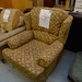 Large gold mix fabric wing chair E160