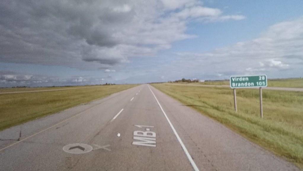 Only 105 km to Brandon, Manitoba! #ridingthroughwalls #xcanadabikeride through #googlestreetview