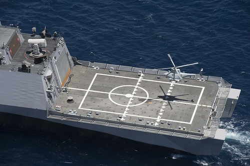 SAN DIEGO (NNS) -- Sailors aboard USS Coronado (LCS 4) recently conducted dynamic interface testing with the MQ-8B Fire Scout Vertical Take-Off and Landing Tactical Unmanned Aerial Vehicle (VTUAV) NAVSEA announced.