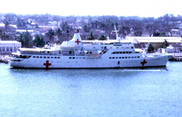 Helgoland as German Red Cross (DRK) hospital ship seen docked in Danang, Vietnam, in April 1968 - Photo by Chad Carleton